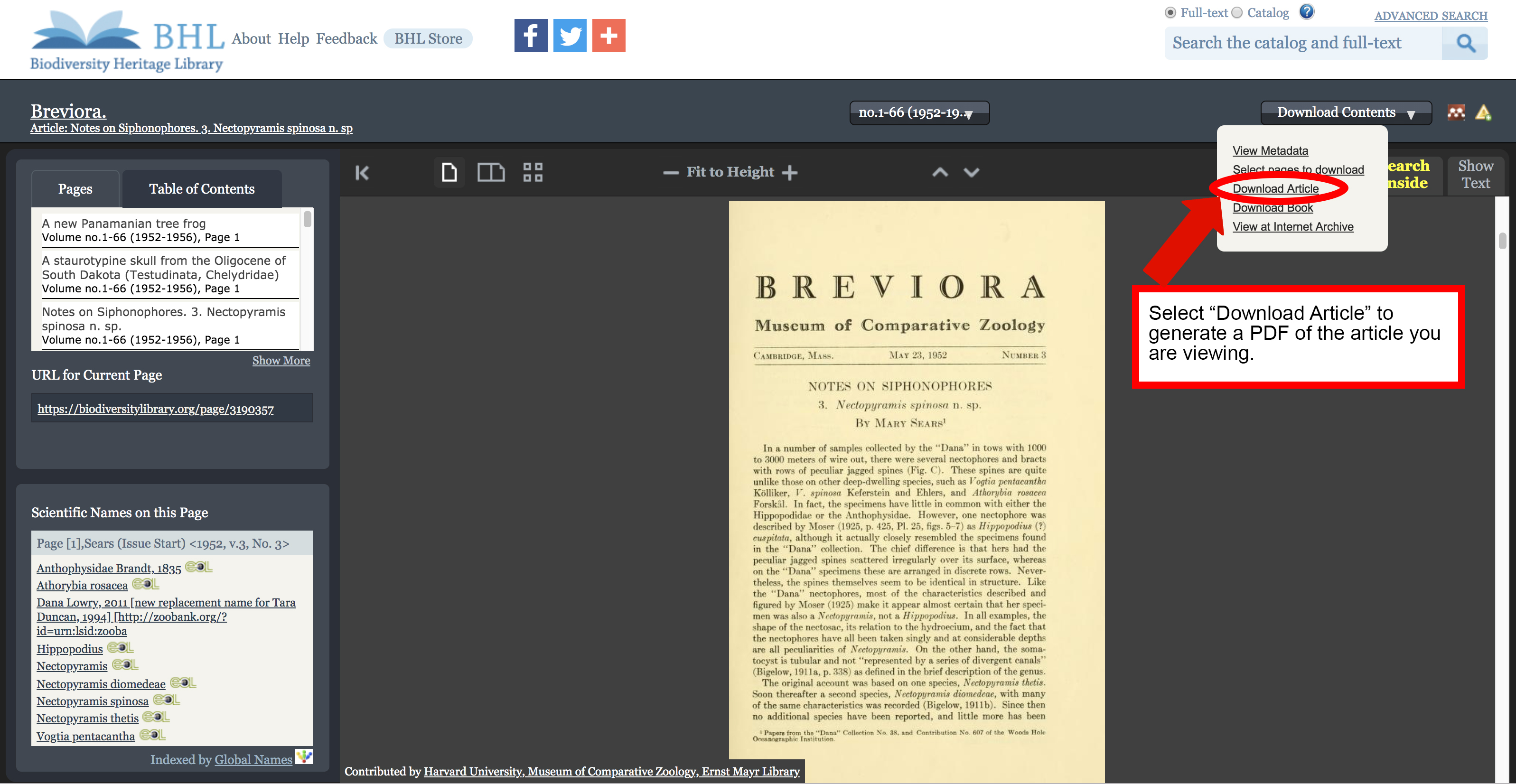 "Screenshot of the book viewer in the Biodiversity Heritage Library with the ""download article"" option highlighted in the download contents menu."