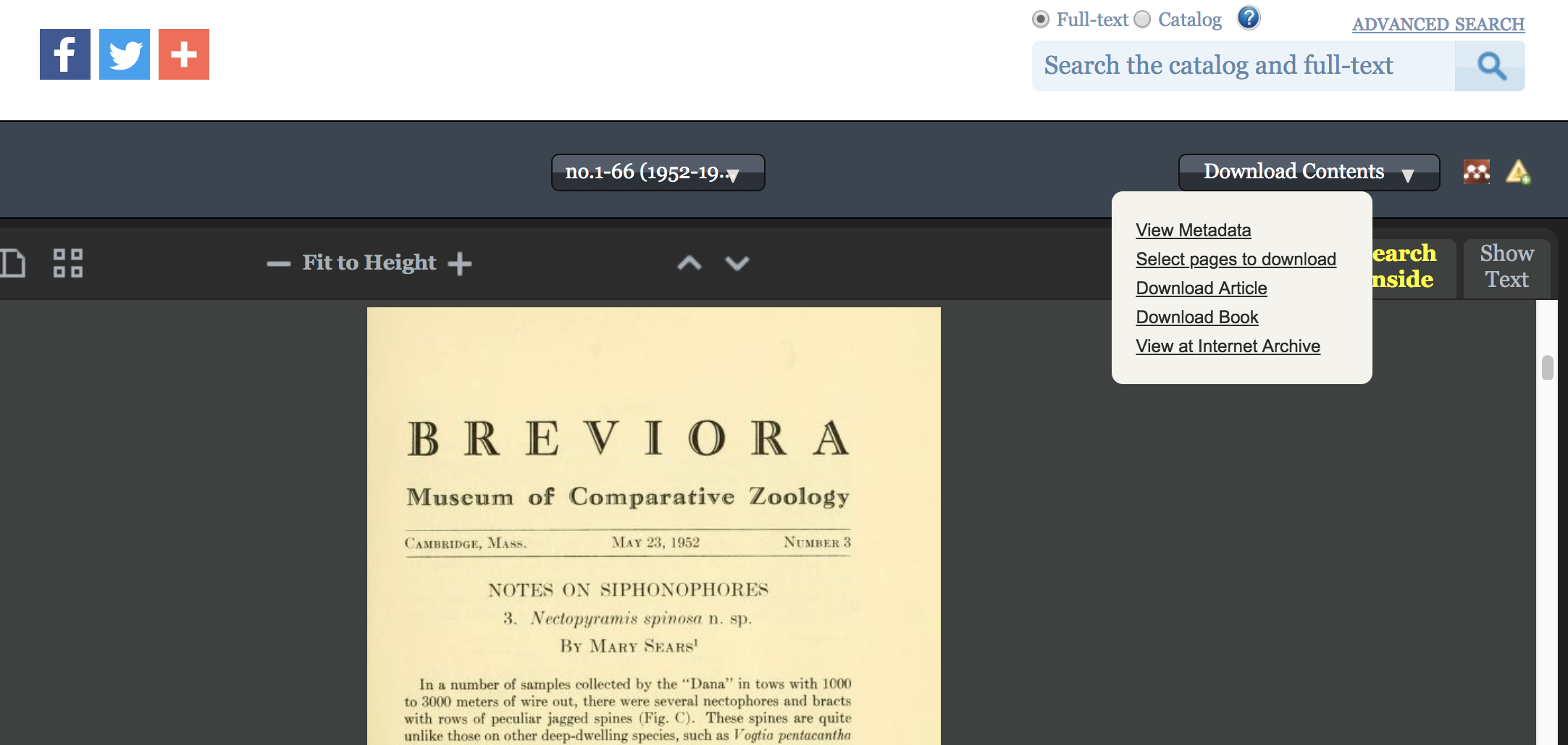 Screenshot of the Biodiversity Heritage Library book viewer showing options in the download contents dropdown menu.