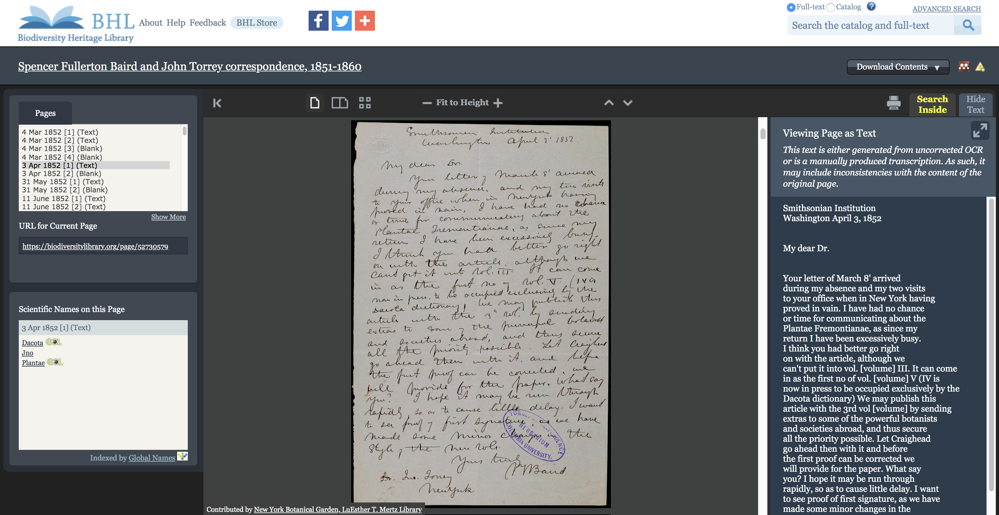 Book viewer in BHL with correspondence and crowdsourced transcription.